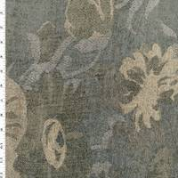 *2 YD PC--Beige/Gray/Blue Floral Chenille Tapestry Decor Fabric