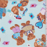 *2 YD PC--Pastel Blue Multi Bear Print Flannel