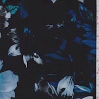*2 YD PC--Black/Jewel Blue Floral Jersey Knit