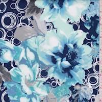 *2 YD PC--Navy/Aqua/Grey Flower Pop Scuba Knit