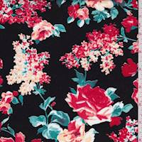 *1 1/2 YD PC--Black/Coral Rose Cotton Poplin