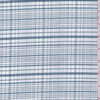 *7/8 YD PC--Slate Blue/White Plaid Cotton Oxford Shirting