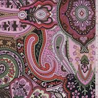 *1/2 YD PC--Pink/Tangerine Stylized Scroll Jersey Knit