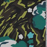 *3 YD PC--Black/Teal Jungle Floral Sateen