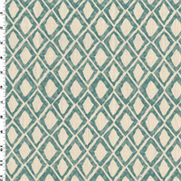*2 1/2 YD PC--Ivory/Teal Abstract Diamond Print Woven Decorating Fabric