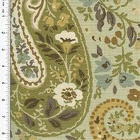 *1 3/4 YD PC--Designer Cotton Green/Beige Paisley Print Decorating Fabric