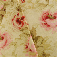 *4 1/2 YD PC--Beige/Pink Covington Poppies Print Home Decorating Fabric