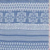 Dusty Blue Inca Stripe Rayon Crepe