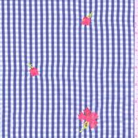 Royal/White Gingham Check Polyester