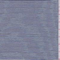 *1 3/8 YD PC--White/Navy Corded Stripe Jersey Knit