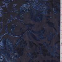 Ink Blue Floral Burnout Stretch Velvet