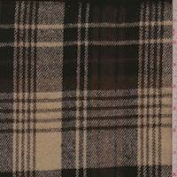 *2 3/4 YD PC--Dark Ecru/Mocha/Black Plaid Flannel Jacketing