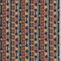 *2 3/8 YD PC--Black/Sand Multi Stripe ITY Jersey Knit