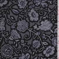 Black/White Floral Burnout Panne Velvet
