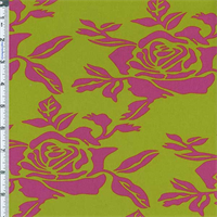 *4 1/8 YD PC--Lime/Pink Rose Print Decor Cotton Twill