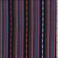 *3 1/8 YD PC--Black Multi Jacquard Stripe Polyester