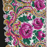 *1 1/4 YD PC--Fuchsia/Black Floral Scroll Cotton