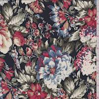 *2 5/8 YD PC--Dark Navy Multi Floral Crepe de Chine
