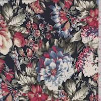 *2 5/8 YD PC--Dark Navy Multi Floral Crepe de Chine