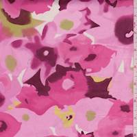 *3 3/8 YD PC--Raspberry/Pink Floral Sateen