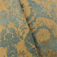*4 1/2 YD PC--Gold/Gray Chenille Damask Home Decorating Fabric