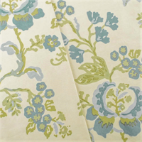 *2 1/2 YD PC--Ivory/Green/Blue Cotton Floral Print Decorating Fabric
