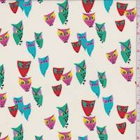 Ecru Multi Color Owl Print Polyester