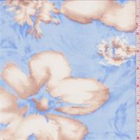 *1 5/8 YD PC--Sky Blue/Soft Brown Shadow Floral Georgette