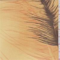 *3 YD PC-Golden Beige/Brown Feather Print Georgette
