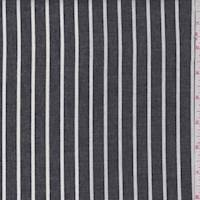 Black/White Stripe Oxford Shirting