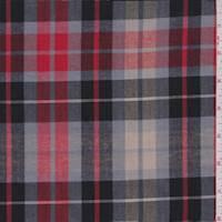 Tan/Red/Beige Plaid Shirting