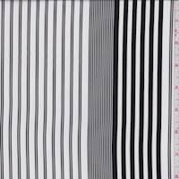 *2 3/4 YD PC--White/Black Stripe Crepe de Chine