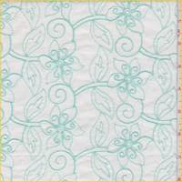*2 1/2 YD PC--White/Mint Embroidered Floral Lawn