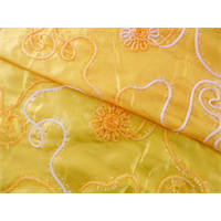 *5 1/2 YD PC--Yellow Floral Embroidered Tissue Taffeta