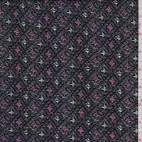 *4 1/2 YD PC--Black/Pink Diamond Brushed Jersey Knit