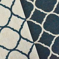 Navy/Beige Quatrefoil Double Jacquard Decorating Fabric
