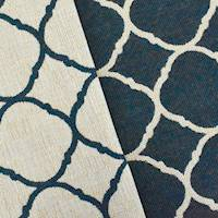 *5 3/4 YD PC--Navy/Beige Quatrefoil Double Jacquard Decorating Fabric