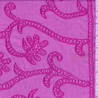 *2 3/8 YD PC--Hot Pink Embroidered Lawn