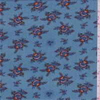 *3 1/8 YD PC--Ocean/Teal Floral Bouquet Leno Jacquard