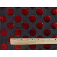 *2 5/8 YD PC--Black/Metallic Red Polka Dot Foil Print Power Mesh