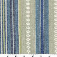 *1 3/4 YD PC--Teal/Gray/Multi Linen Blend Tribal Stripe Decorating Fabric