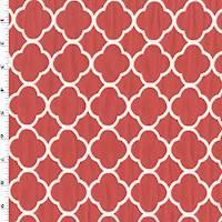 *2 YD PC--Red/White Quatrefoil Matelasse Home Decorating Fabric