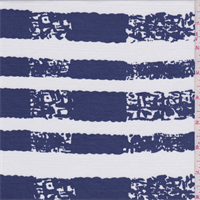 *3 YD PC--White/Blue Altered Stripe Tencel Jersey Knit