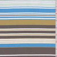 *2 1/2 YD PC--Aqua/Mocha/Gold Stripe Satin Taffeta