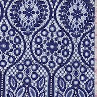 *2 3/4 YD PC--Orient Blue Floral Ogee Lace