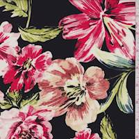 *1YD PC--Black/Coral Red Floral Rayon Challis
