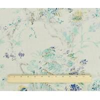*3 1/2 YD PC--Taupe/Blue/Multi P Kaufmann Floral Print Linen Decor Fabric