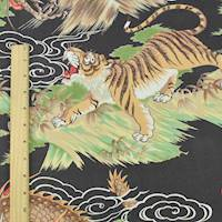 *2 1/4 YD PC--Black/Green/Multi Tiger and Dragon Rayon Print
