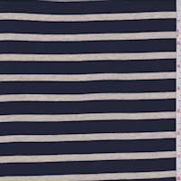 *2 1/2 YD PC--Navy/Tan Stripe Cotton Jersey Knit