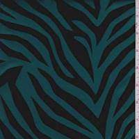 Deep Teal Flocked Zebra Taffeta